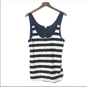 J. CREW Black Striped Sequin Tank Top NWT XL